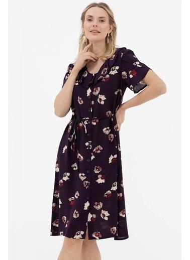 Sementa Çiçek Desenli Midi Boy Gömlek Elbise - Mürdüm Mürdüm